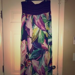 Long Strapless Floral Dress